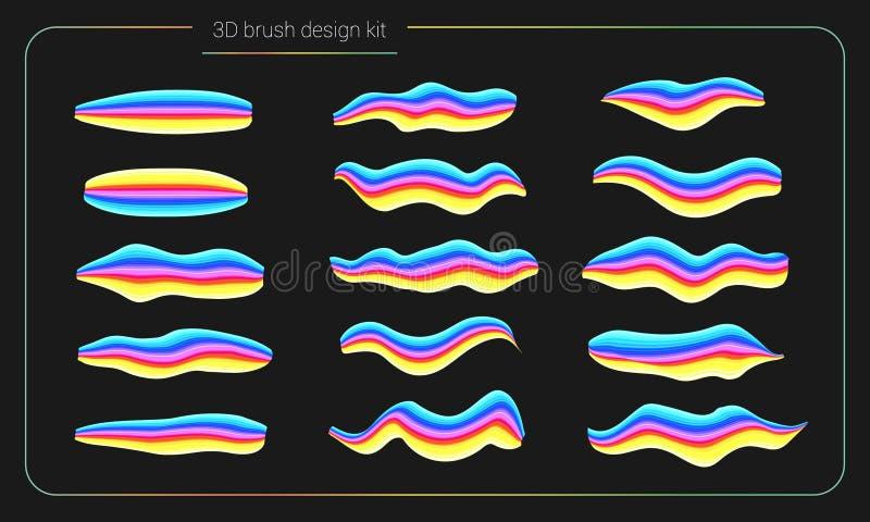 ensemble de peinture de brosse de la calomnie 3d Le liquide colore des courses de peinture pinceau de rayure Éléments de concepti illustration libre de droits