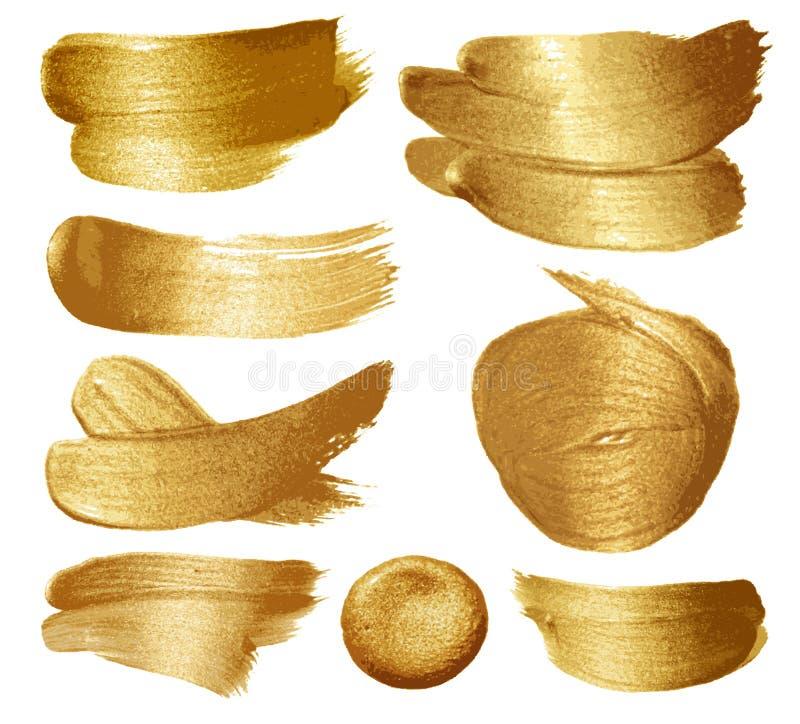 Ensemble de peinture d'or illustration stock