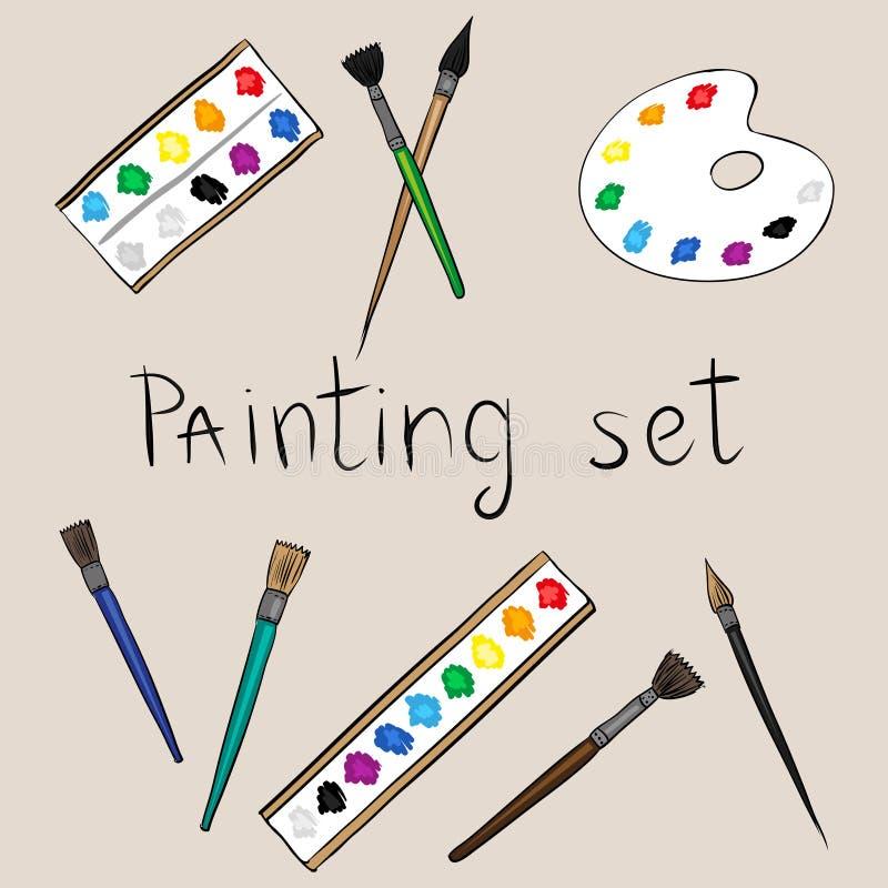 Ensemble de peinture d'art illustration de vecteur