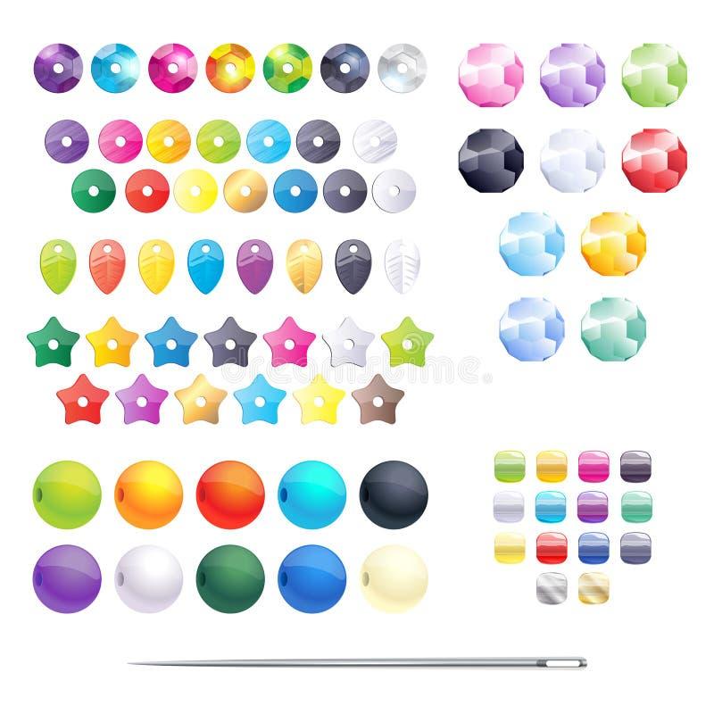 Ensemble de perles, de paillettes et de graine colorées différentes illustration libre de droits