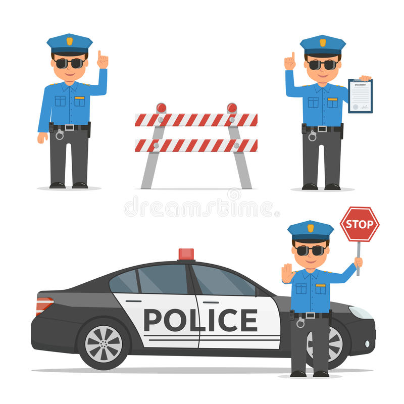 Ensemble de personnages de dessin animé d'un policier Policier de trafic dans différentes poses Voiture de police et barrage de r illustration stock