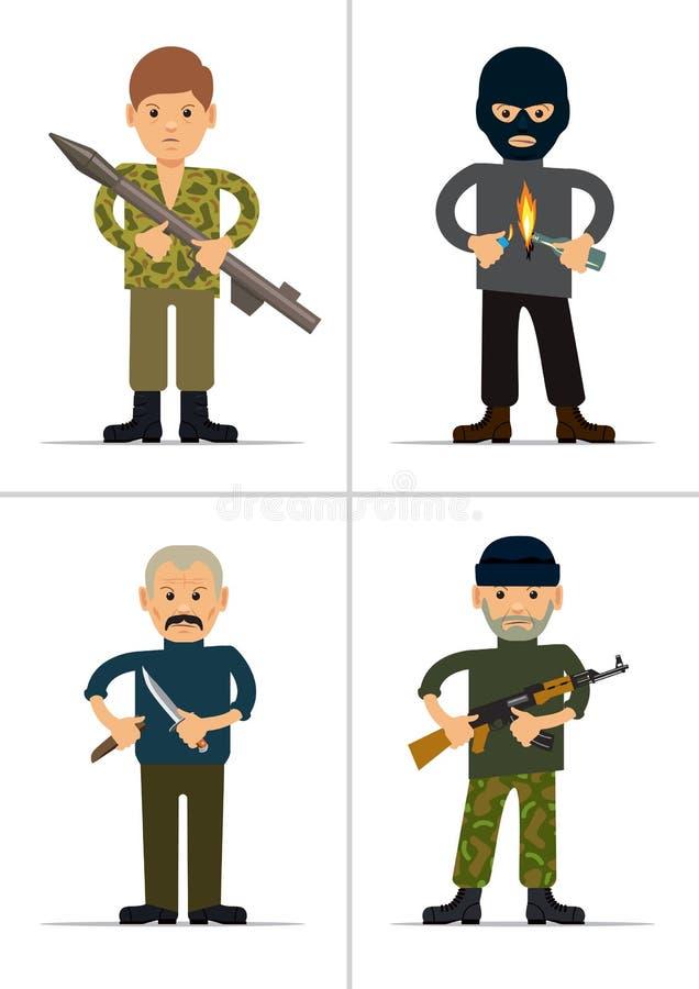 Ensemble de personnalités Terroristes et contrevenants illustration de vecteur