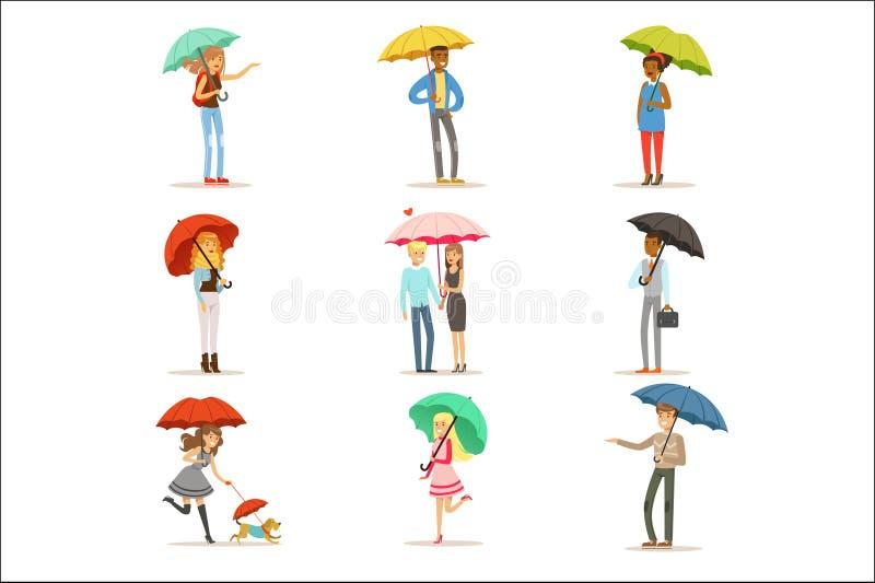 Ensemble de personnes avec les parapluies colorés Homme et femme de sourire marchant sous le vecteur coloré de caractères de para illustration stock