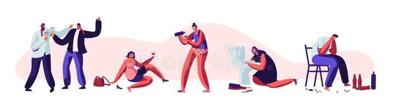 Ensemble de personnes d'alcoolisme Mâle et caractères humains femelles faisant boire des dépendances pernicieuses et la toxicoman illustration stock
