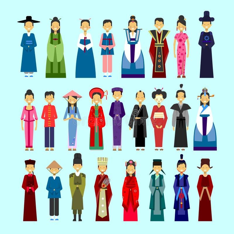 Ensemble de personnes dans l'habillement asiatique traditionnel, le mâle et le concept femelle de collection de costumes de resso illustration stock