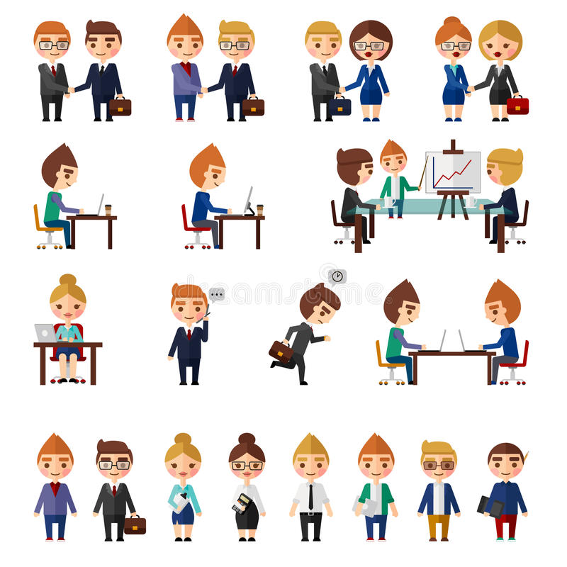 Ensemble de personnes de local commercial illustration libre de droits