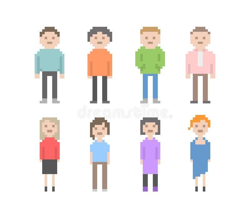 Ensemble de personnes de pixel illustration libre de droits