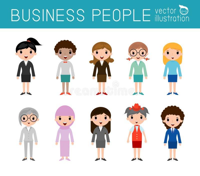 Ensemble de personnes diverses de femmes d'affaires d'isolement sur le fond blanc Ensemble de gens d'affaires divers de plein cor illustration de vecteur