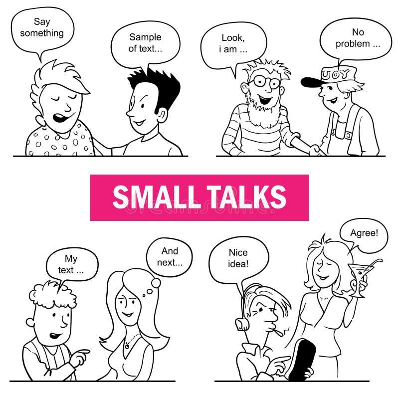 Ensemble de personnes drôles de griffonnage de bande dessinée Situations de petits entretiens illustration stock
