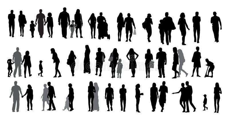 Ensemble de personnes et d'enfants de marche de silhouette. illustration de vecteur