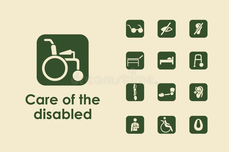 Ensemble de personnes handicapées les icônes simples illustration de vecteur