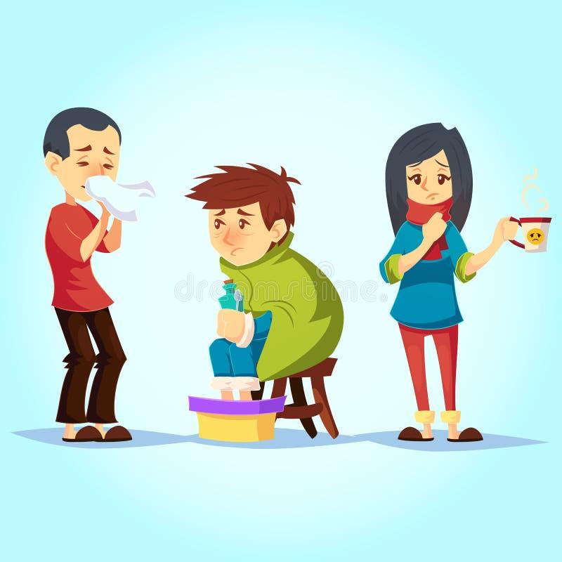 Ensemble de personnes malades ayant la sensation froide de grippe souffrante, illustration de vecteur de style de bande dessinée illustration stock