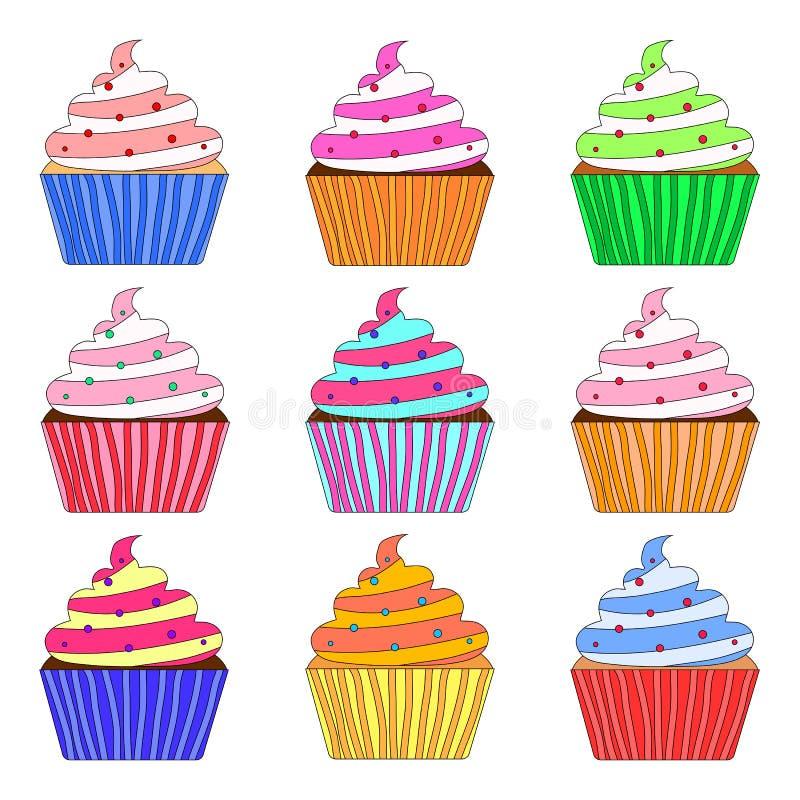 Ensemble de petit gâteau de vecteur illustration de vecteur