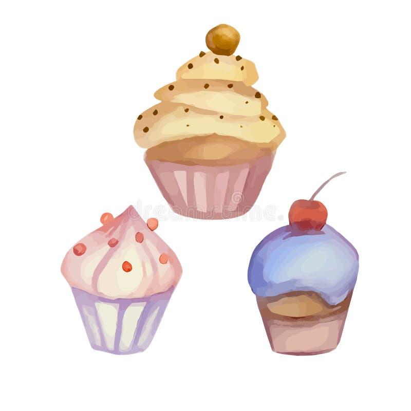 Ensemble de petits gâteaux d'aquarelle illustration stock