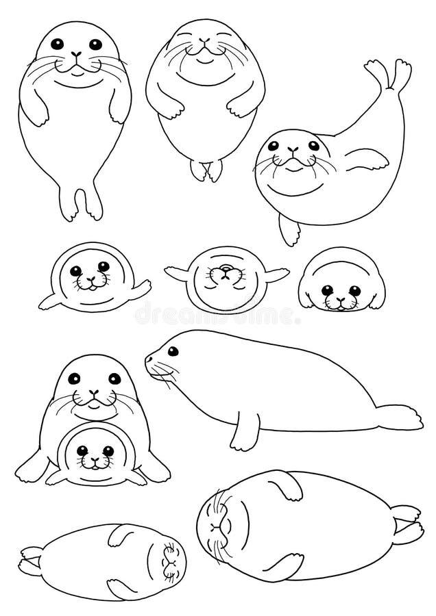 Ensemble de phoques parent et enfant illustration de vecteur