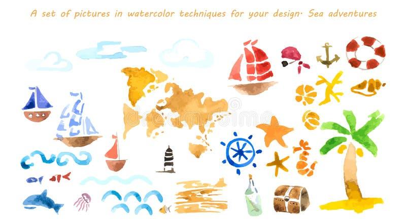 Ensemble de photos dans des techniques d'aquarelle pour votre conception Annonce de mer illustration stock