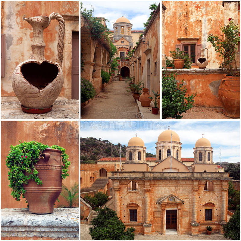 Ensemble de photos du monastère d'Agia Triada en Crète, Grèce photographie stock libre de droits