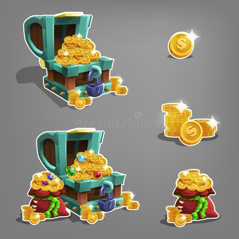 Ensemble de pièces de monnaie d'or dans le coffre et le sac illustration de vecteur