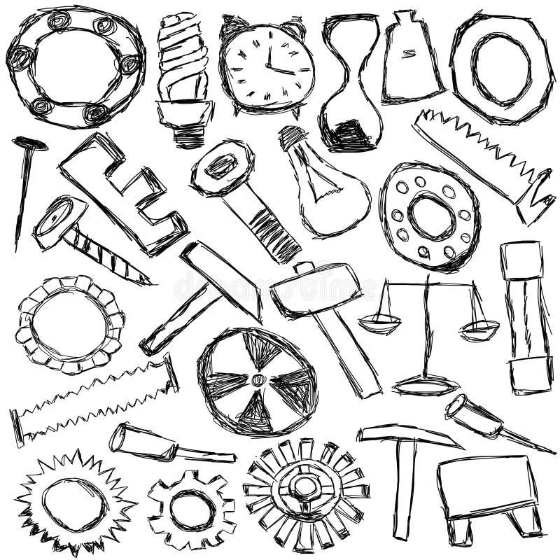 Ensemble de pièces de rechange et d'outils mécaniques - dessin d'enfants illustration de vecteur