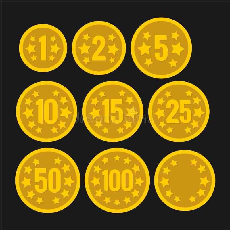 Ensemble de pièces de monnaie avec des nombres pour des jeux de casino de table illustration de vecteur