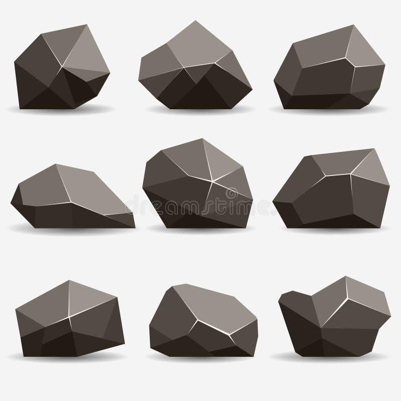 Ensemble de pierre de roche illustration stock