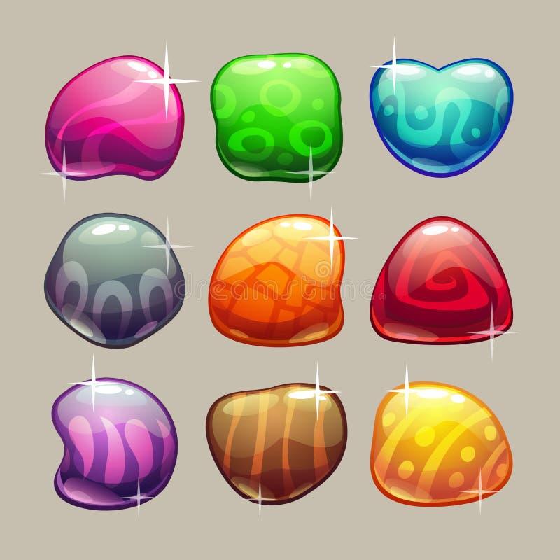 Ensemble de pierres brillantes colorées lumineuses illustration libre de droits