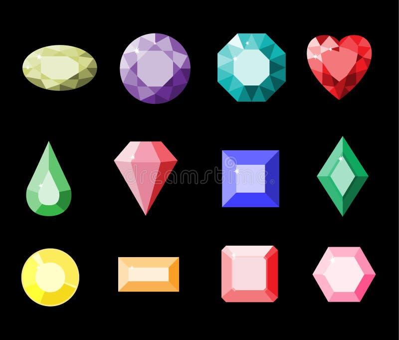Ensemble de pierres gemmes colorées Illustration simple de gemmes Bijoux de bande dessinée Vecteur illustration stock