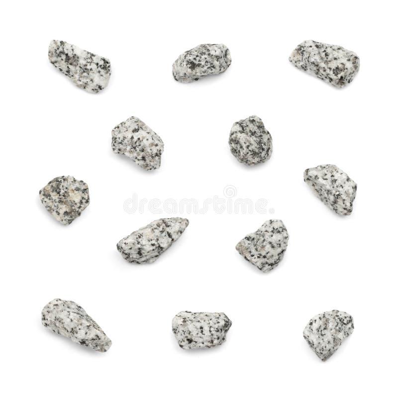 Ensemble de pierres de granit d'isolement photos stock