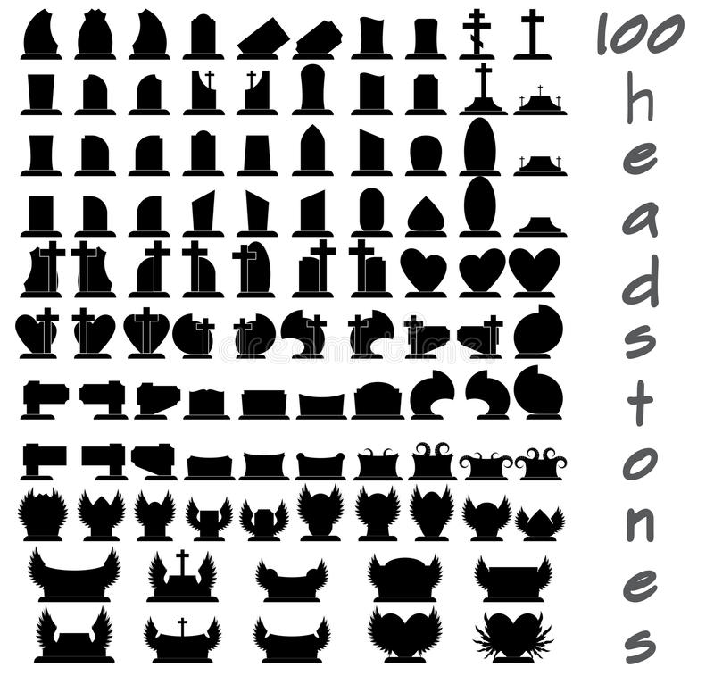 Ensemble de 100 pierres tombales illustration de vecteur