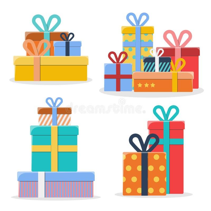 Ensemble de piles de différents boîte-cadeau colorés sur le fond blanc illustration stock