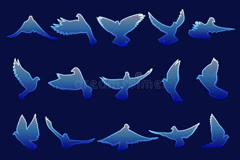 Ensemble de piloter les colombes bleues sur le fond bleu illustration stock