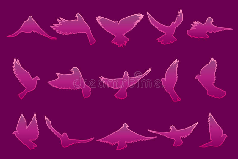 Ensemble de piloter les colombes roses sur le fond rose foncé illustration de vecteur