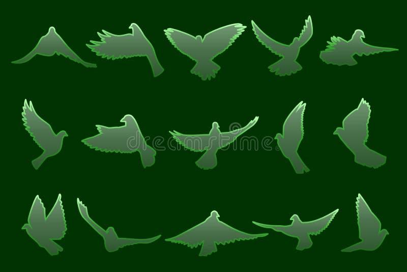 Ensemble de piloter les colombes vertes sur le fond vert-foncé illustration de vecteur