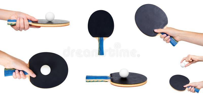 ensemble de ping-pong différent avec la main d'isolement sur le fond blanc photos libres de droits