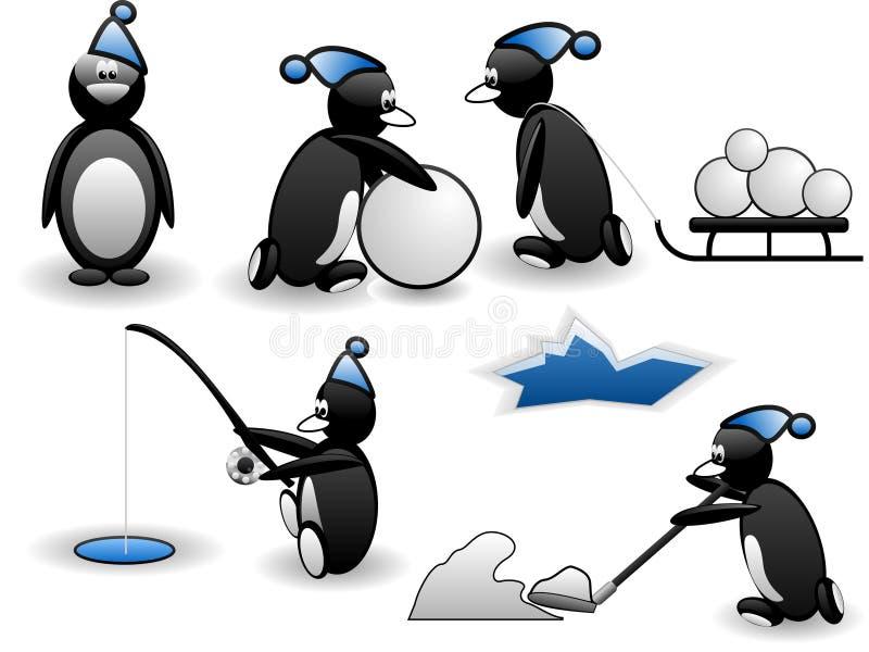 Ensemble de pingouins drôles dans l'action illustration stock