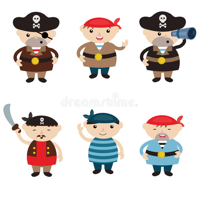 Ensemble de pirates mignons de bande dessinée illustration de vecteur