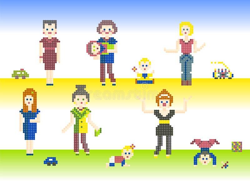 Ensemble de pixel de caractères illustration stock