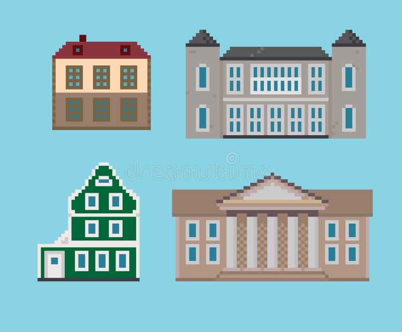 Ensemble de pixel de Chambres historiques illustration libre de droits