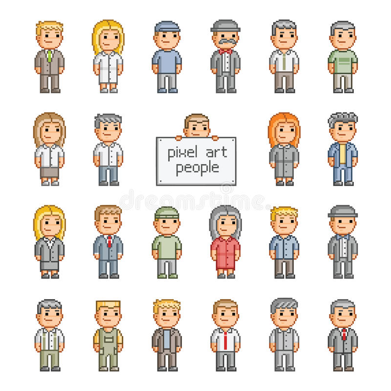 Ensemble de pixel de personnes illustration stock