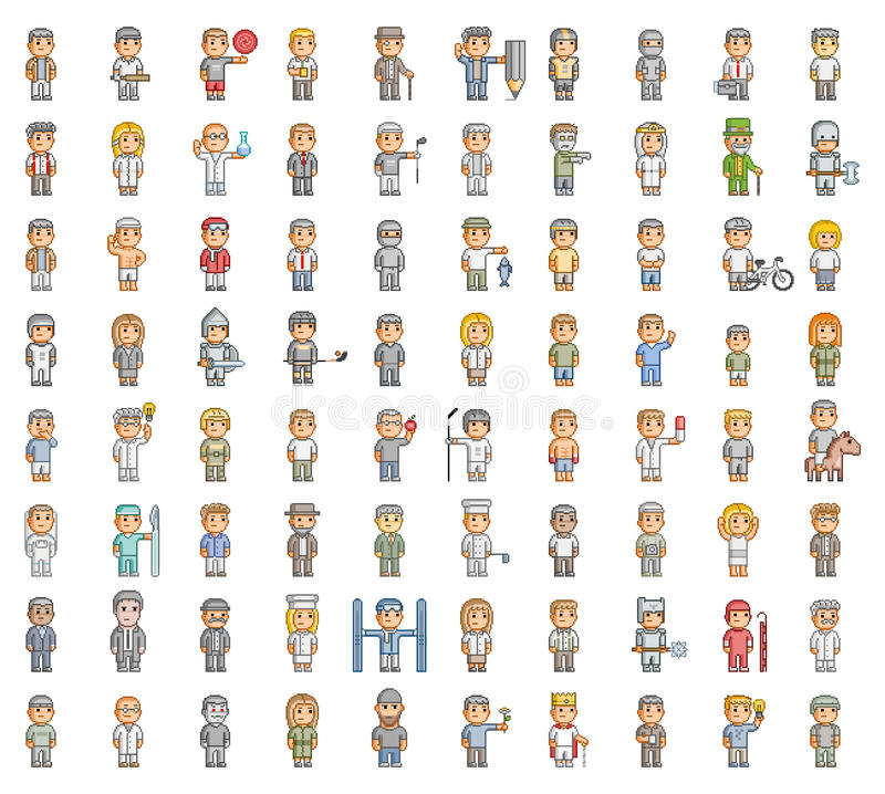 Ensemble de pixel de personnes illustration libre de droits
