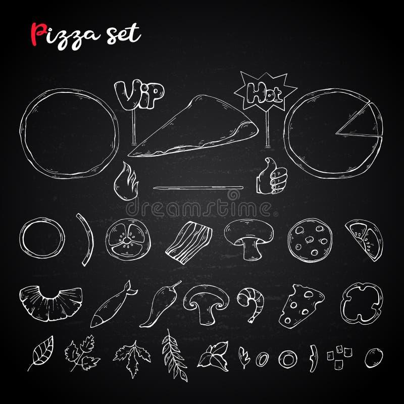 Ensemble de pizza de vecteur, collection sur un tableau Ingrédient de pizza illustration stock