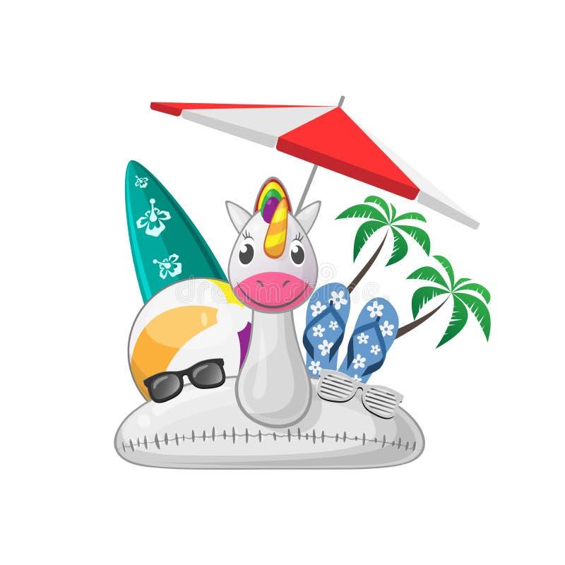 Ensemble de plage d'été avec le parasol de sunglases de bascules électroniques de planche de surf de ballon de plage d'anneau de  illustration de vecteur
