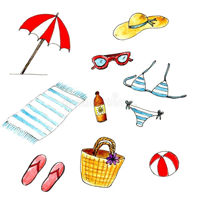Ensemble de plage d'été d'isolement par aquarelle Vacances d'été, ayant un repos sur la plage illustration stock