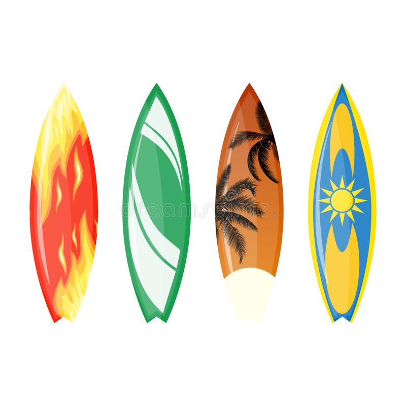 Ensemble de planche de surf de couleur illustration stock
