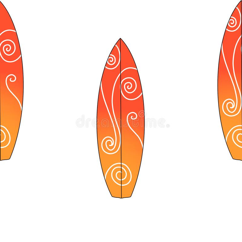 Ensemble de planche de surf de couleur d'isolement sur le fond blanc Illustration extr?me de mod?le de sport de mer illustration libre de droits