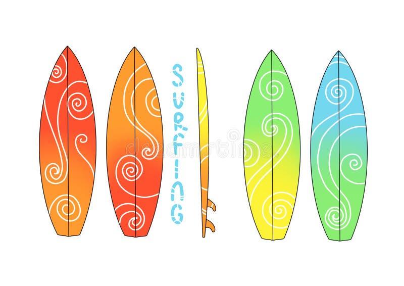 Ensemble de planche de surf de couleur Illustration extr?me de mod?le de sport de mer illustration stock