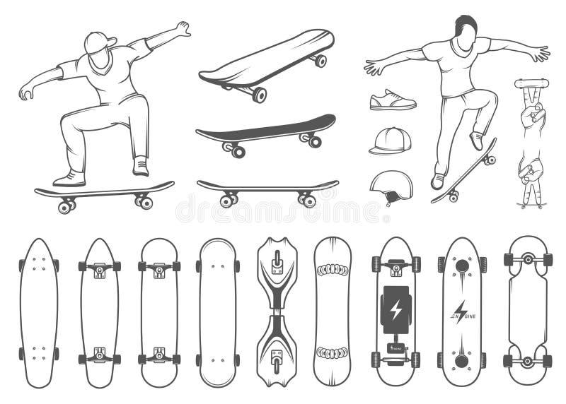 Ensemble de planches à roulettes, d'équipement, et d'éléments de style de rue illustration libre de droits
