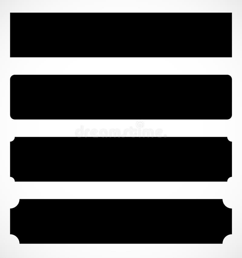 Ensemble de plaque en métal, formes de bannière barres de métal précieux illustration libre de droits