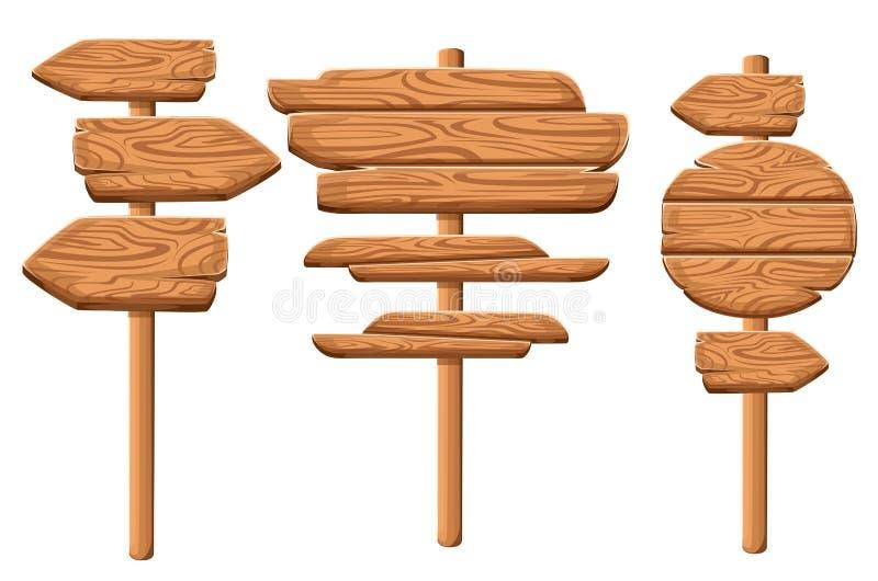 Ensemble de plaques en bois dans le style de bande dessinée Collections en bois de plaque Vieilles planches de route de signe en  illustration stock