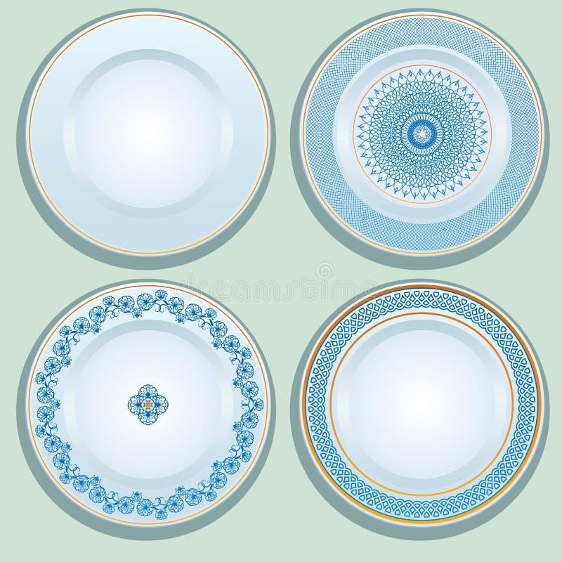 Ensemble de plat blanc de porcelaine avec l'ornement bleu, modelé en rond illustration stock